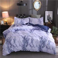 Printed Marble Bedding Set White Black Duvet Cover King Queen Size Quilt Cover Brief Bedclothes Comforter Cover Marble Bed Set, Marble Duvet Cover, Blue Bedding Sets, Queen Bedding Sets, Queen Beds, King Queen, Bed Sets, Bed Duvet Covers, Duvet Cover Sets
