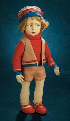 Forever Young - Marquis Antique Doll Auction: 203 Italian Felt Character Boy, Series 110, by Lenci in Sportswear