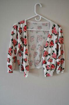 Vintage Floral Cropped Cardigan