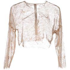 Le Coeur De Twin-set Simona Barbieri Shrug ($45) ❤ liked on Polyvore featuring outerwear, beige, 3/4 sleeve shrug, cardigan shrug, white shrug, white shrug cardigan and beige shrug