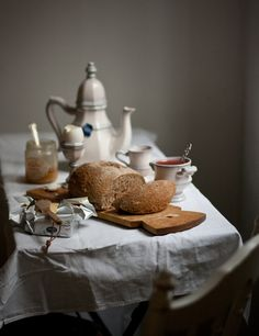 Boil some eggs, freshly baked bread or from your local bakery, delicious and salty butter, homemade jam from the garden, a cup of tea and a teapot.