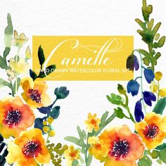 Watercolour Floral Clipart. Handmade, watercolour clipart, wedding diy elements, flowers - Camille by SmallHouseBigPony on Etsy
