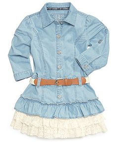 Cute with cowboy boots, she'll go wild for western-inspired style with this belted dress by Guess. | Dress body: cotton/spandex; Lace trim: cotton; Fake-leather belt front: polyester; Belt body: polye