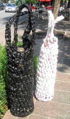 Plarn Wine Bottle Tote- Crocheted Plarn Tote Bag- Plastic Bag Yarn.