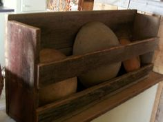 shelf ...I just picked up a couple of old broken crates that would work for a shelf like this...add some paint and...