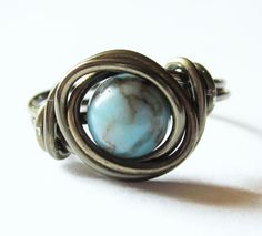 Turquoise Ring Wire Wrapped Boho Jewelry by DistortedEarth- Etsy