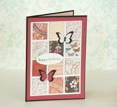 Happy Birthday Handmade Card with Butterflies and Symetrical Paper Squares