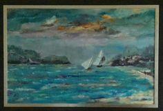 Zee landschap in acryl  met lijst 90 x 1.20 cm. Beschikbaar
