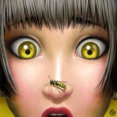 Wasp my little nightmare Digital Art by Cintia Gonzálvez. Cintia is a self-taught freelance artist from Barcelona. Shehe tries to create spontaneous Illustration Art Dessin, Illustrations, Digital Illustration, Creative Illustration, Bee Art, Pop Surrealism, Arte Pop, Bees Knees, Pinup