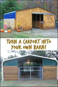 There are other ways of using a carport! Like using it as a barn! What would you use a converted carport There are other ways of using a carport! Like using it as a barn! What would you use a converted carport for? The Farm, Mini Farm, Small Farm, Horse Barn Plans, Horse Barns, Horses, Diy Carport, Horse Shelter, Goat Barn