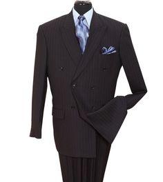 2pcs Black Suit, Double Breasted, Pinstripe, pattern, Men suit. Color-Black Sizes Available-36R-60R, 36L-60L