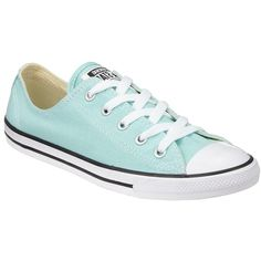 Converse Dainty Seasonal Ox Trainers , Pool Green ($64) ❤ liked on Polyvore featuring shoes, sneakers, pool green, converse shoes, converse trainers, converse footwear, green shoes and converse sneakers