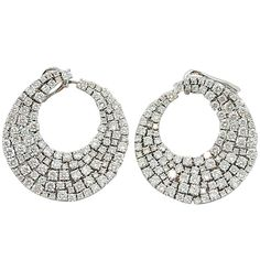 Jona Diamond Gold Swirl Earrings   From a unique collection of vintage clip-on earrings at https://www.1stdibs.com/jewelry/earrings/clip-on-earrings/