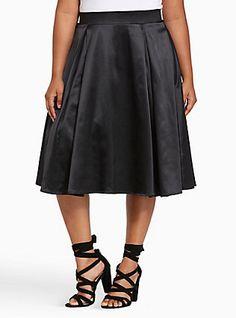 Plus Size Satin Midi Swing Skirt, DEEP BLACK