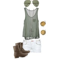 green rocker outfit by bellalee2000 on Polyvore