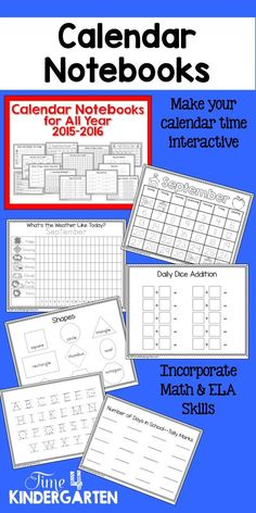 Calendar Notebooks for Kindergarten. Make the morning calendar routine interactive and educational. Focus on CCSS math and ELA standards while learning daily calendar routines.