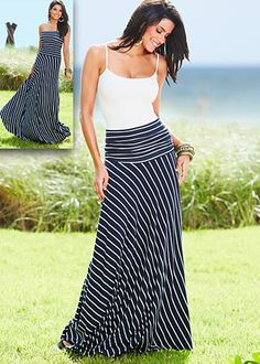 stripe strapless maxi dress/skirt $59