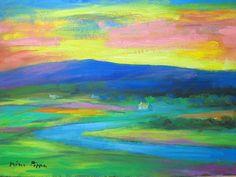 Original Irish Landscape Art Painting Connemara Ireland Homage to Paul Henry Irish Landscape, Landscape Art, Connemara Ireland, Impressionism, Colours, Sunrises, The Originals, Abstract, Artist