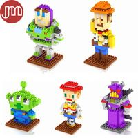 New Toy Story Blocks Buzz Lightyear Woody Jessie Squeeze Toy Aliens Zurg Models Building Toys Collection with Box Free Track