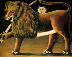 Niko Pirosmani, 1862-1918. Lion and the sun, Oil on cardboard, 80 x 100 cm