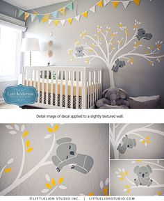 Koala Tree Wall Decal Baby Nursery Modern Decor Removable Wall Sticker Sleepy Koala Bear on Tree Wall Sticker Koala Baum Wand Aufkleber Baby Kinderzimmer modernen Dekor Nursery Modern, Baby Nursery Decor, Baby Bedroom, Project Nursery, Baby Boy Rooms, Nursery Neutral, Baby Boy Nurseries, Nursery Themes, Baby Decor