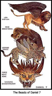 The Beasts of Daniel The last beast is an eagle as reveals in 2 esdras Bible Teachings, Bible Scriptures, Hebrew Bible, Revelation Bible Study, Quick View Bible, Bible Timeline, Bibel Journal, Bible Study Notebook, Bible Pictures
