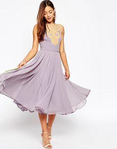 ASOS | ASOS WEDDING Lace Applique Midi Dress at ASOS