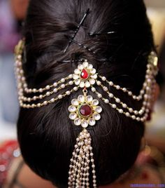 jeweled hair piece for Indian brides.