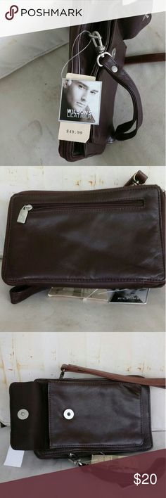 """Wilson's Leather wristlet Purse Brown Leather Small Purse or Wristlet.  Measures 9"""" long 5"""" wide. Places for credit cards and all the other things. Wilsons Leather Bags Mini Bags"""
