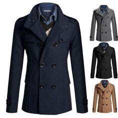 Mode Hommes British Style Manteau de couleur unie de laine Double Breasted Casual Veste Longue