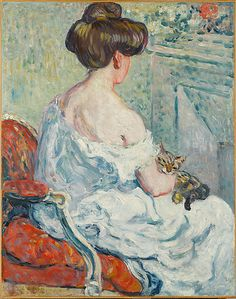 Louis Valtat (French, Dieppe Paris) - Woman with a Cat, 1903 - Oil on canvas - The Metropolitan Museum of Art, NY Monet To Matisse, Henri Matisse, Art And Illustration, Edgar Degas, She And Her Cat, Maurice De Vlaminck, Raoul Dufy, Renoir, French Artists