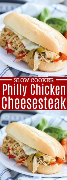 Slow Cooker Philly Chicken Cheesesteak - The Diary of a Real Housewife - Adriaens Heather Chicken Cheesesteak Recipe, Chicken Steak, Slow Cooker Chicken, Philly Cheese Steak Sandwich, Chicken Sandwich Recipes, Slow Cooker Recipes, Crockpot Recipes, Cooking Recipes, Slow Cooking