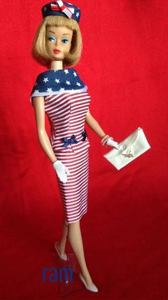"""Patriotic """"Fashion Editor"""" modeled by American Girl Barbie"""