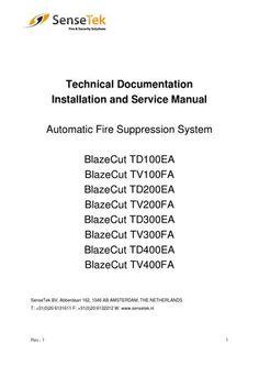 Technical documentation blazecut t series sensetek nl