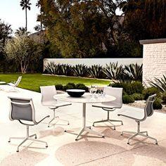 Originally developed as an outdoor chair for the Eero Saarinen and Alexander Girard-designed home of industrialist J. Irwin Miller, the Eames Aluminium Group...