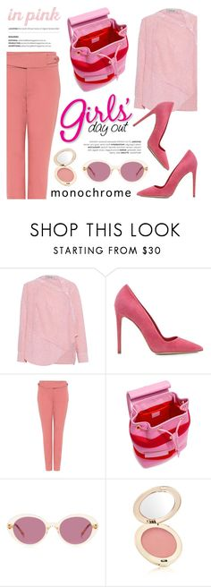"""In Pink we trust!"" by ifchic ❤ liked on Polyvore featuring Rachel Comey, Dee Keller, TIBI, Boutique Moschino, Oliver Peoples, Jane Iredale, contestentry, ifchic and monochromepink"