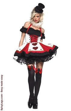 Pretty Playing Card Costume or Queen of Hearts fancy dress sexy halloween costum Queen Of Hearts Costume, Queen Costume, Casino Dress, Casino Outfit, Adult Costumes, Costumes For Women, Popular Costumes, Wicked Costumes, White Costumes