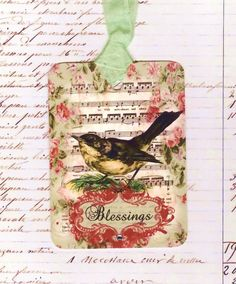 Vintage Tags Bird Blessings with Bling Green and Pink