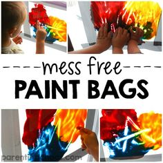 Mess Free Paint Bags are a fantastic educational activity for kids of all ages! Quiet Time Activities, Educational Activities For Kids, Infant Activities, Preschool Activities, Kids Learning, Learning Stations, Diy Sensory Toys, Sensory Bags, Sensory Bottles