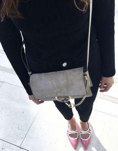 Chloe bag with pink Miu Miu flats.