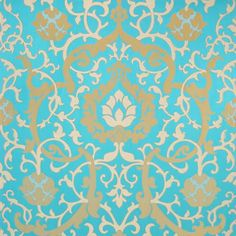 Turquoise and Gold Damask