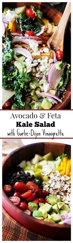 Avocado and Feta Kale Salad with Garlic Dijon Vinaigrette | www.diethood.com | Hearty, delicious and healthy Kale Salad featuring Avocados and Feta tossed with a homemade Garlic Dijon Vinaigrette. This salad is AMAZING! | #kale #salad