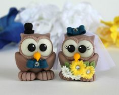 Custom love bird wedding cake topper - owl bride and groom with banner