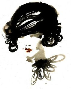 .love that sketch of woman in black and white... only red lip stick.