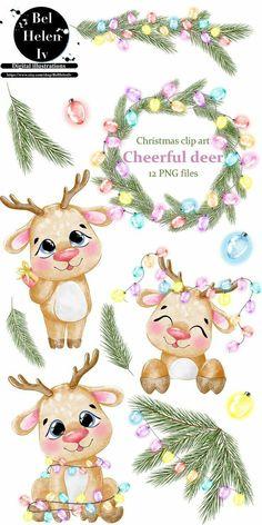 Christmas Drawing, Christmas Art, Christmas Cookies, Christmas Ornaments, Illustration Noel, Illustrations, Christmas Printables, Christmas Clipart Free, Cute Animal Clipart