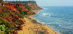 Varkala Beach – where fun, foam and frolic come together. There are Varkala and Papanasam Beaches. Sivagiri mutt near varkala. Can enjoy Ayurvedic massage. Tourist Places, Places To Travel, Places To See, Tourist Spots, Amazing Destinations, Holiday Destinations, Kerala Backwaters, Kerala Tourism, Domestic Flights