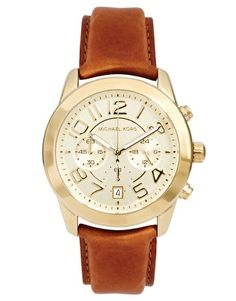 Bild 1 von Michael Kors – Goldene Chronograph-Armbanduhr mit hellbraunen Lederband