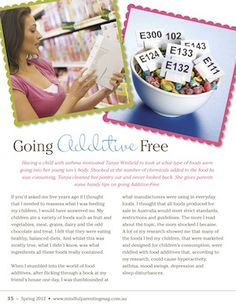 Going Additive Free - Mindful Parenting Mag Spring issue