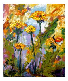 Dandelion and Butterflies Summer Wild Flowers