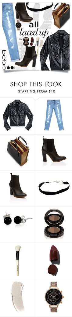 """#617All Laced Up for Spring with bebe: Contest Entry"" by lizzie-spence ❤ liked on Polyvore featuring Bebe, Marni, Bling Jewelry, Anastasia Beverly Hills, Bobbi Brown Cosmetics, Lipstick Queen, Olivia Burton and alllacedup"